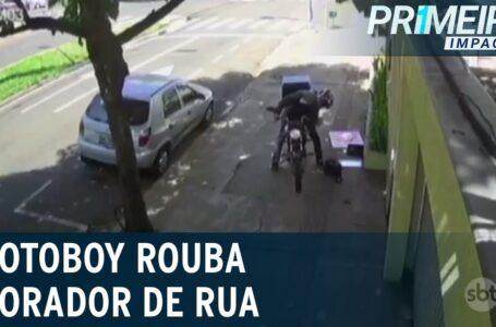 Motoboy rouba pertence de morador de rua