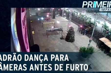 Ladrão dança para as câmeras de segurança de de cometer o crime