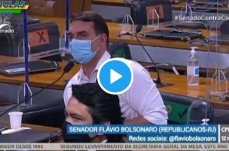 Senador Flávio Bolsonaro chama senador Renan Calheiros de vagabundo em plenário da CPI da Vacina