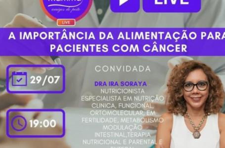 """PARCERIA MT MAMMA e Instituto Mario Cardi Filho realizam live sobre """"A importância da alimentação para pacientes com câncer"""""""