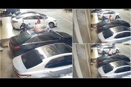 """Mulher caiu da varanda em cima de um carro quando estava no """"bem bom"""" com o namorado"""