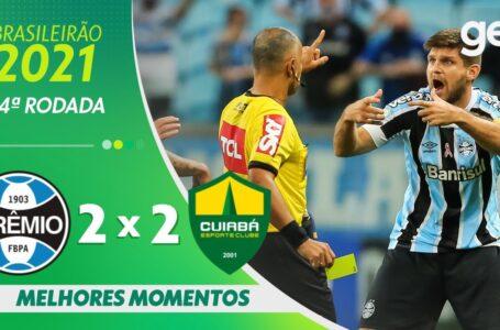 Veja os melhores lances do jogo Grêmio 2 x 2 Cuiabá em Porto Alegre